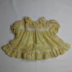 Vintage Mothercare 3-6mo Yellow Flower Dress Lace